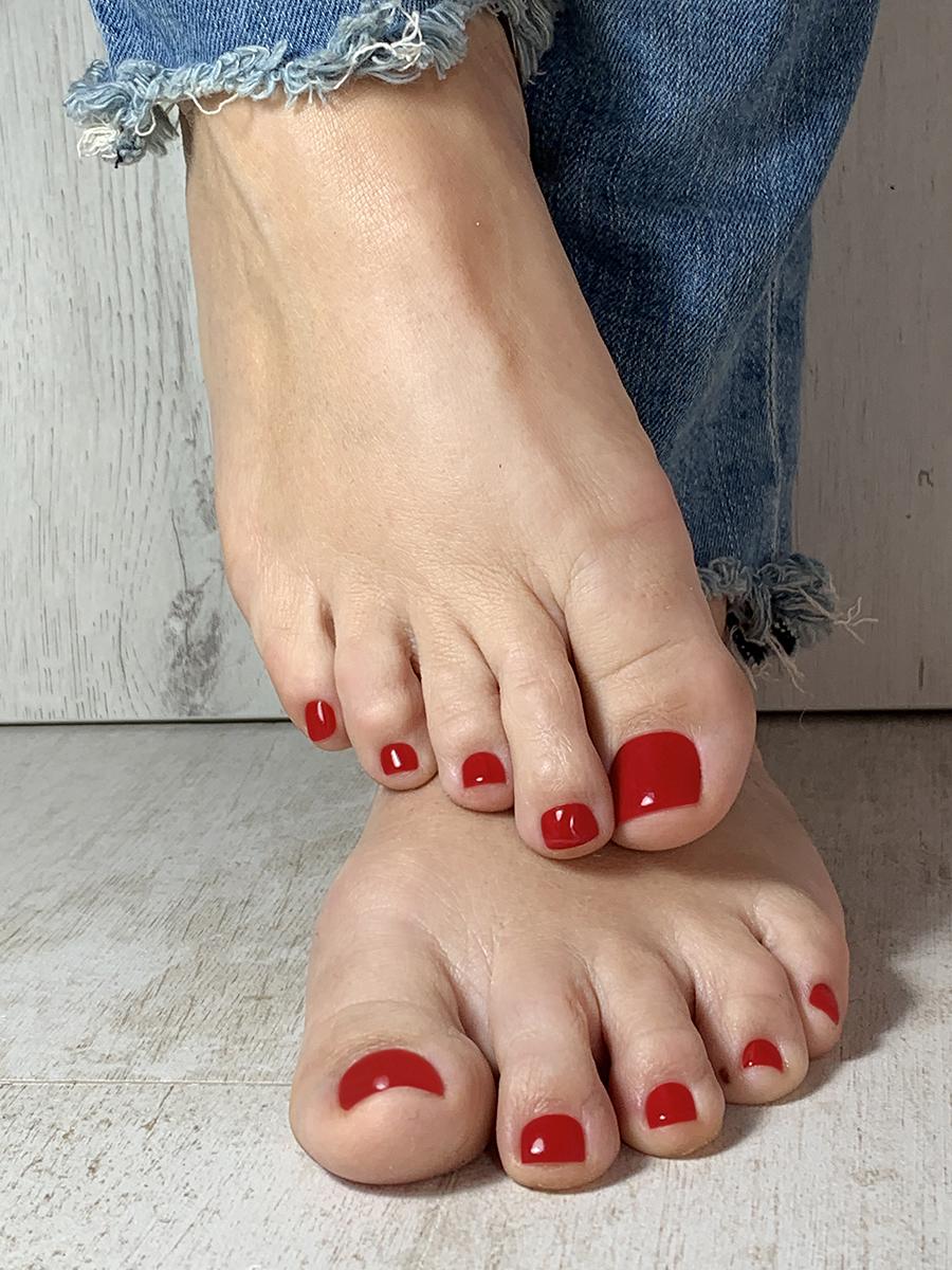 pedicura rojo tejano